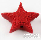 Cinnabar Beads,20mm star,Red,Sold by each.