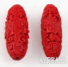 Cinnabar Beads,8*25mm oval,Red,Sold by each.