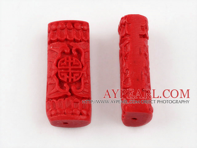 Cinnabar Beads,8*12*30mm rectangle,Red,Sold by each.