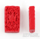 Cinnabar Beads,16*30mm rectangle,Red,Sold by each.