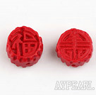 Cinnabar Beads,14mm flat round carved with Chinese character,Red,Sold by each.