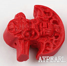Cinnabar Beads,12*25mm ax,Red,Sold by each.