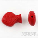 Cinnabar Beads,8*12*18mm fish,Red,Sold by each.