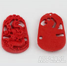 Cinnabar Beads,26*30mm carved with dragon ,Red,Sold by each