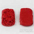 Cinnabar Beads,25*40mm rectangle carved with kylin ,Red,Sold by each