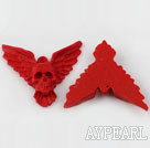 Cinnabar Beads,41mm eagle with skull,Red,Sold by each