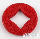 Cinnabar Beads,5*35mm flat round,Red,Sold by each.