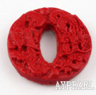 Cinnabar Beads,10*40mm flat round inner oval,Red,Sold by each.