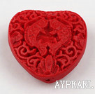 Cinnabar Beads,12*30mm heart,Red,Sold by each.