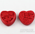 Cinnabar Beads,10*30mm heart with carved mandarin duck,Red,Sold by each.