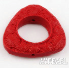 Cinnabar Beads,6*30mm triangle inner ring,Red,Sold by each.