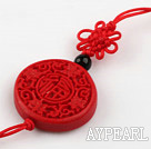 Cinnabar pendant,6*28mm flat round ,with the carved chinese characters,chinese knot,Red,Sold by each