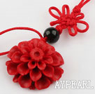 Cinnabar pendant,10*22mm chrysanthemum,with chinese knot,Red,Sold by each
