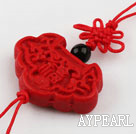 Cinnabar pendant,8*20*30mm,with chinese knot,Red,Sold by each