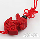 Cinnabar pendant,10*25mm,with chinese knot,Red,Sold by each