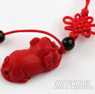 Cinnabar pendant,10*15*30mm,lucky pig ,with chinese knot,Red,Sold by each