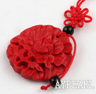 Cinnabar pendant,6835mm round,carved with the flower,with chinese knot,Red,Sold by each