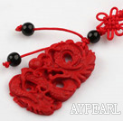 Cinnabar pendant,3*25*40mm,carved with the dragon,with chinese knot,Red,Sold by each