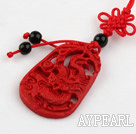 Cinnabar pendant,4*20*40mm,carved with the dragon,with chinese knot,Red,Sold by each