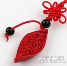 Cinnabar pendant,8*16*30mm twist horse eye with chinese knot,Red,Sold by each