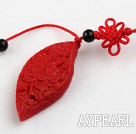 Cinnabar pendant,6*20*50mm twist horse eye with chinese knot,Red,Sold by each