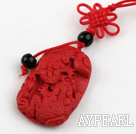 Cinnabar pendant,6*22*36mm with chinese knot,Red,Sold by each