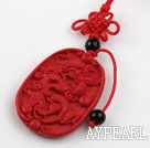Cinnabar pendant,5*28*40mm,carved with the dragon,with chinese knot,Red,Sold by each