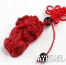 Cinnabar pendant,14*20*26mm beast with chinese knot,Red,Sold by each