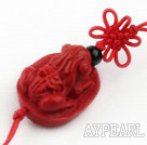 Cinnabar pendant,12*15*30mm frog with chinese knot,Red,Sold by each