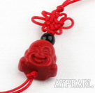 Cinnabar pendant,12*15mm Buddha with chinese knot,Red,Sold by each