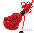 Cinnabar pendant,6*20*28mm smile Buddha with chinese knot,Red,Sold by each