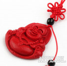 Cinnabar pendant,10*35mm Buddha with chinese knot,Red,Sold by each