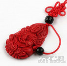 Cinnabar pendant,8*20*30mm chinese knot,Red,Sold by each