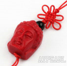 Cinnabar pendant,15*20mm chinese knot,Red,Sold by each