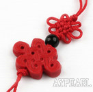 Cinnabar pendant,4*18*20mm chinese knot,Red,Sold by each