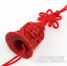 Cinnabar pendant,6*24*45mm bell with chinese knot,Red,Sold by each