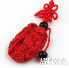 Cinnabar pendant,6*24*45mm Longevity with chinese knot,Red,Sold by each.