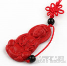 Cinnabar pendant,6*24*45mm Kwan-yin with chinese knot,Red,Sold by each.