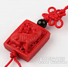 Cinnabar pendant,20mm Chinese zodiac with chinese knot,Red,Sold by each.