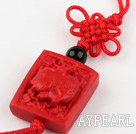 Cinnabar pendant,20mm Chinese zodiac,Red,Sold by each.