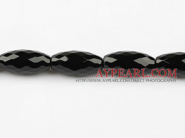 black agate beads,15*30mm,rice,faceted,Grade A,Sold per 15.35-inch strands