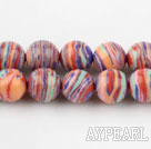 stripe turquoise beads,8mm round ,multi color,sold per 15.75-inch strand