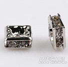 rhinestone beads,6*6mm square,silver,sold per pkg of 100
