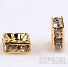 rhinestone beads,8*8mm square,golden,sold per pkg of 100