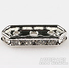 Beads,alloy and rhinestone,clear,3-strand mm bridge spacer. Sold per pkg of 100.