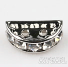 Beads,alloy and rhinestone,clear,7.5*12.5mm 2-strand half-round bridge spacer. Sold per pkg of 100.