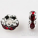 A Rhinestone Spacer Beads,6mm,red, with golden wave lace,sold per Pkg of 100