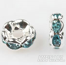 A Rhinestone Spacer Beads,6mm,cyan,with silver wave lace,sold per Pkg of 100