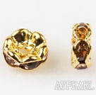 A Rhinestone Spacer Beads,6mm,gamboge, with golden wave lace,sold per Pkg of 100