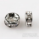 A Rhinestone Spacer Beads,6mm,with silver round lace,sold per Pkg of 100
